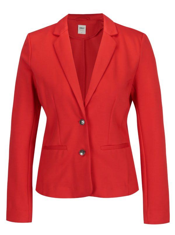 Červené sako ONLY Poptrash
