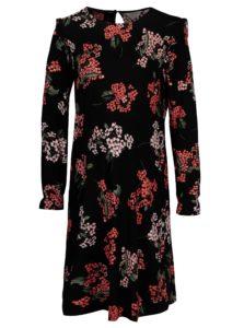 Čierne kvetované tehotenské šaty s dlhým rukávom Dorothy Perkins Maternity