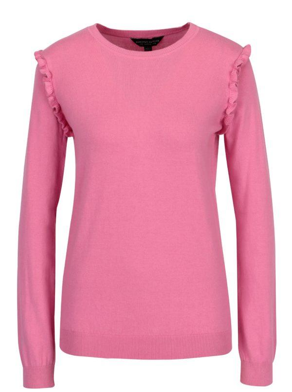 Ružový sveter s volánmi na rukávoch Dorothy Perkins