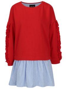 Červená mikina so všitou košeľou ONLY Sunny