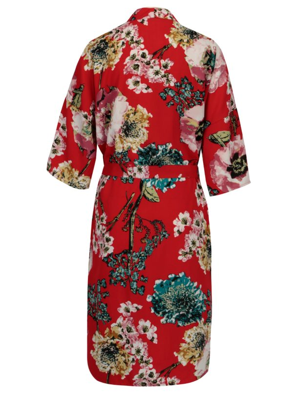 Červené kvetované kimono ONLY Katehrine