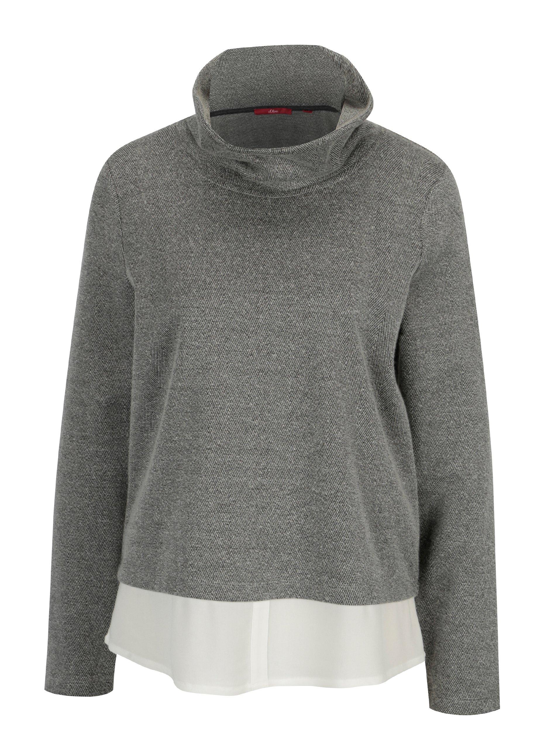 2140c006bc4c Sivý dámsky tenký sveter so všitou košeľou s.Oliver