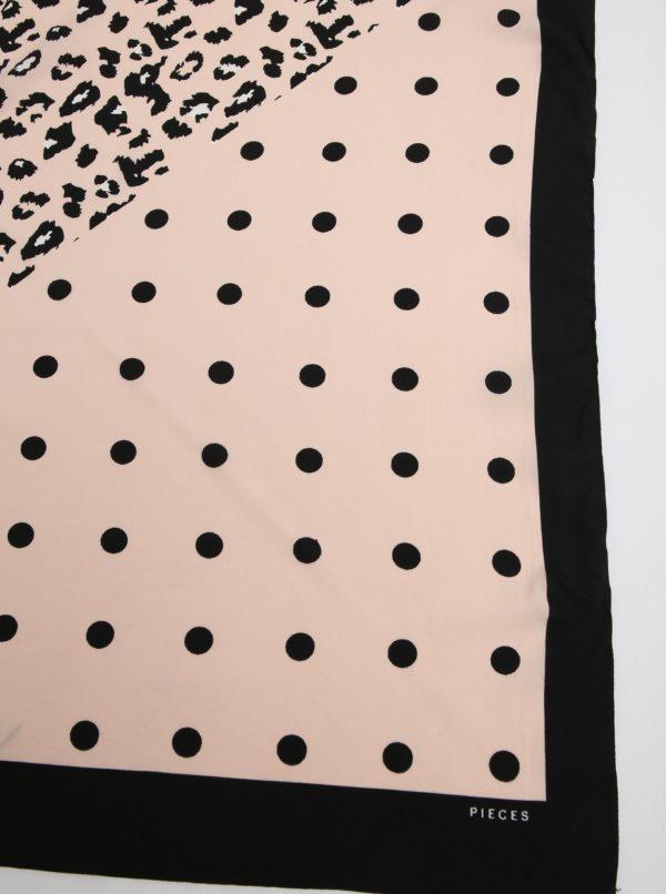 Čierno-ružová vzorovaná šatka Pieces Matiilda