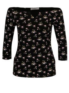 Čierny kvetovaný top s holými ramenami Haily's Racheline