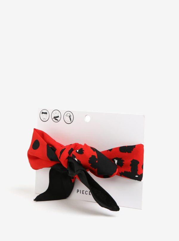 Čierno-červená vzorovaná šatka Pieces Matiilda