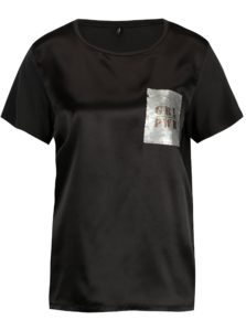 Čierne lesklé tričko s flitrovou výšivkou ONLY Sally