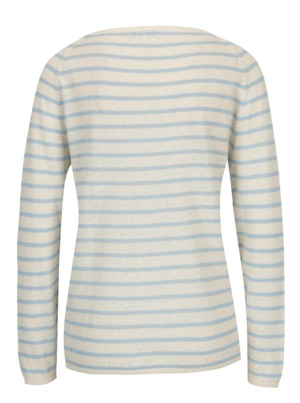 Béžový ľanový sveter so svetlomodrými pruhmi Selected Femme Nive