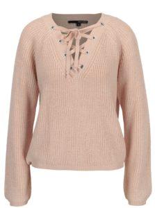 Staroružový sveter so šnurovaním vo výstrihu TALLY WEiJL