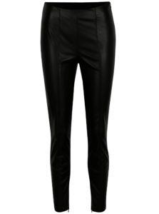 Čierne koženkové nohavice s vysokým pásom VILA Pale