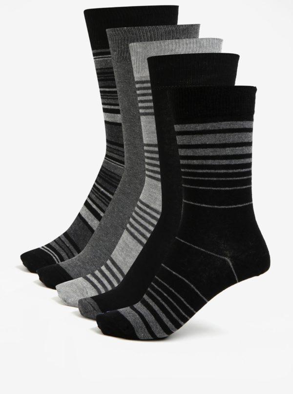 Súprava piatich párov vzorovaných ponožiek v sivej a čiernej farbe Burton Menswear London