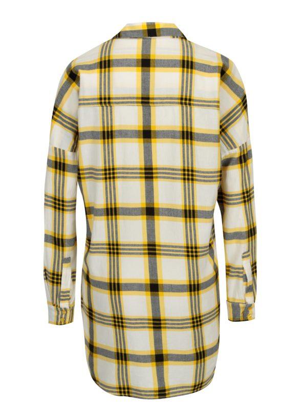 335622e9da24 Žltá dlhá károvaná košeľa Noisy May Erik