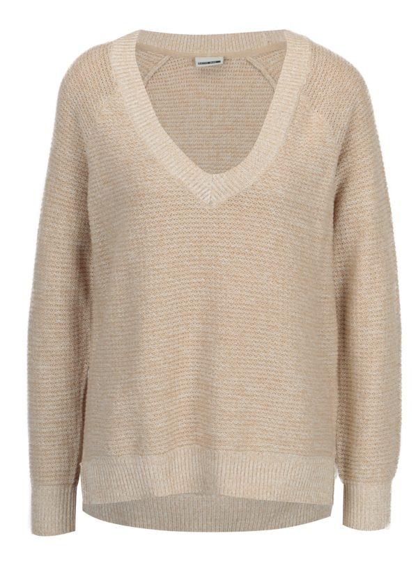 Béžový melírovaný sveter s véčkovým výstrihom Noisy May Ayi