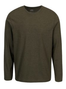 Zelené melírované tričko s dlhým rukávom Burton Menswear London
