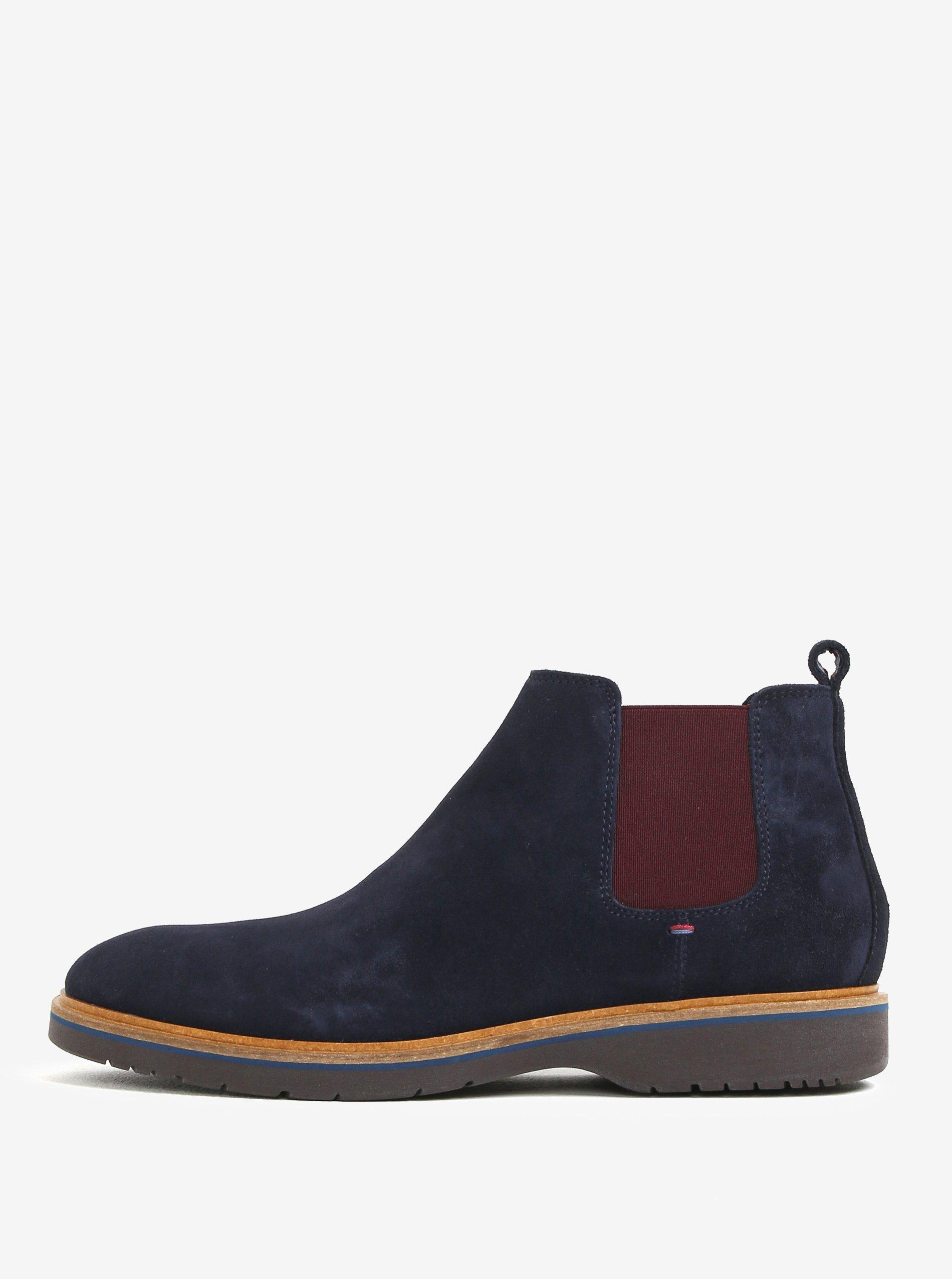 a8d4e3ea53 Tmavomodré pánske semišové chelsea topánky Tommy Hilfiger