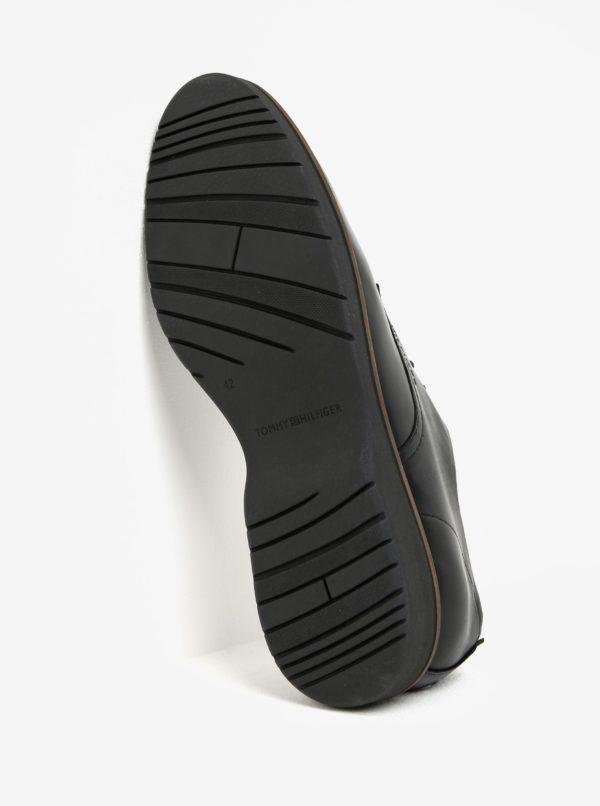Čierne pánske kožené poltopánky Tommy Hilfiger