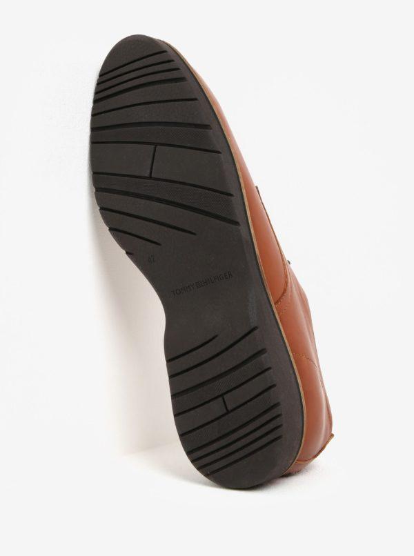 Hnedé pánske kožené poltopánky Tommy Hilfiger