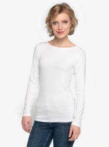 Biele tričko s dlhým rukávom Oasis Plain