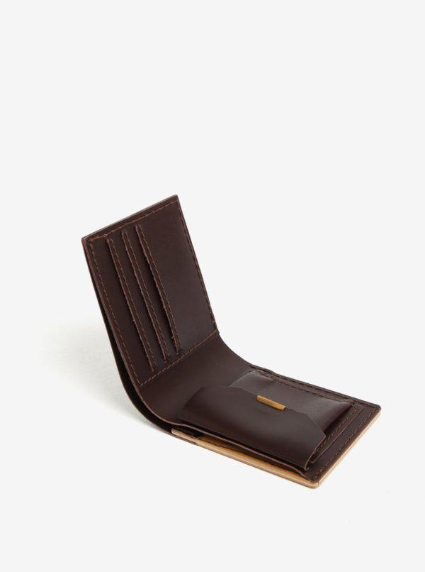Svetlohnedá drevená peňaženka BeWooden Lineari