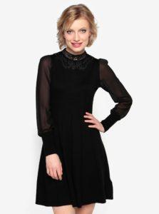 Čierne svetrové šaty s priesvitným rukávom Oasis Lace