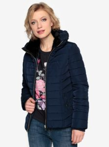 Tmavomodrá prešívaná zimná bunda s vysokým golierom Oasis Natalie