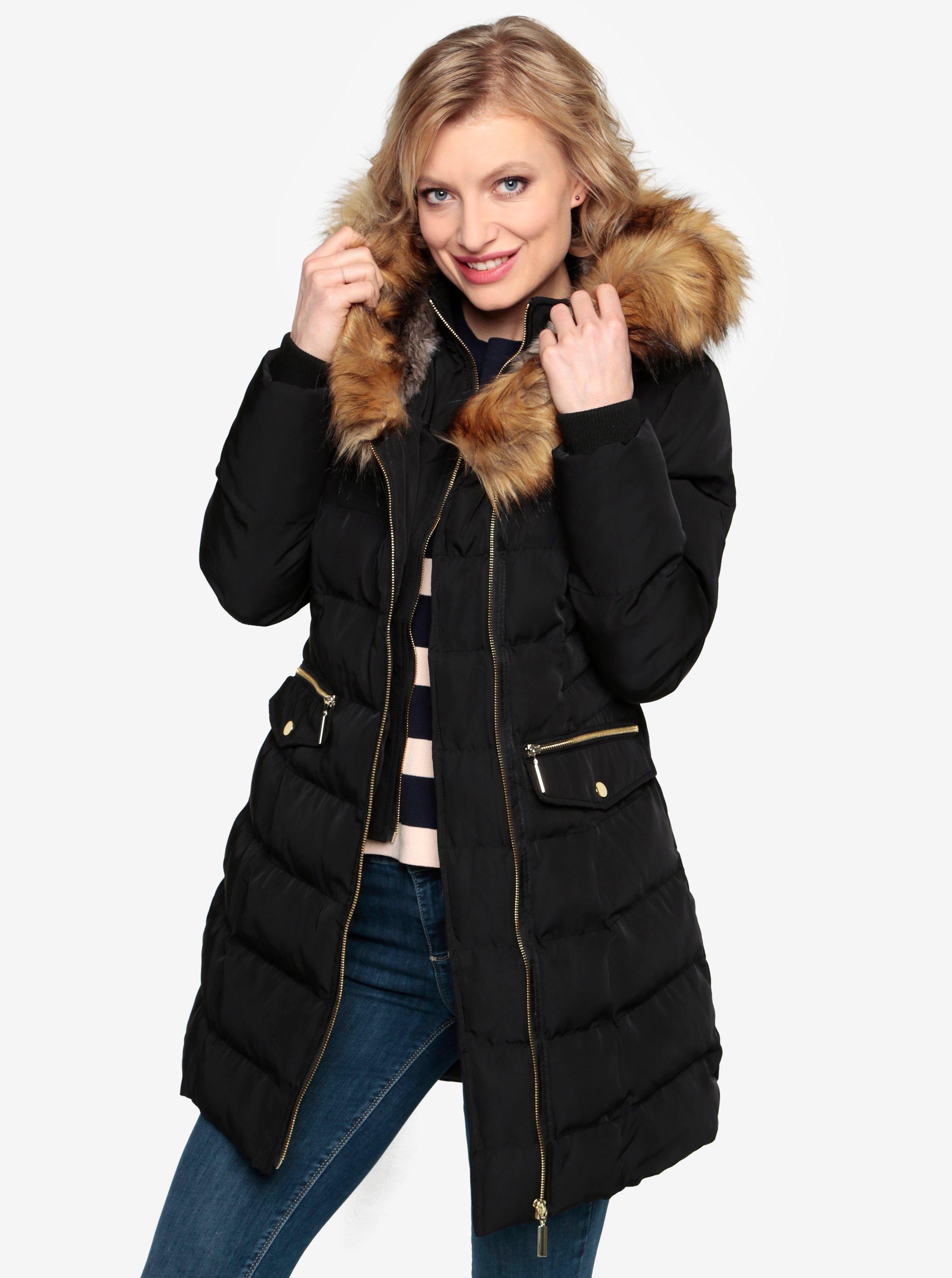 9834fea0a Čierny prešívaný zimný kabát s kapucňou a umelým kožúškom Oasis Etna ...