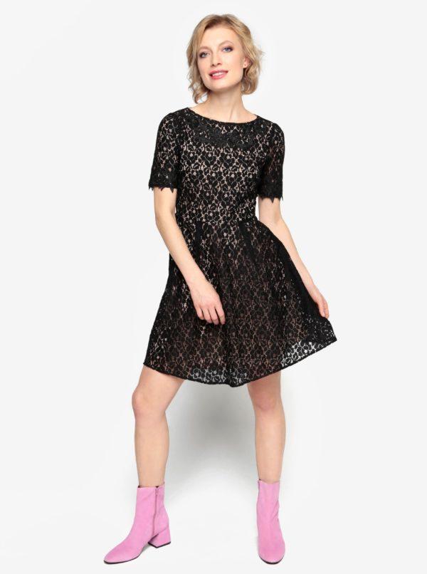 de674df6ad4e Čierne čipkované šaty s krátkym rukávom Oasis Trim