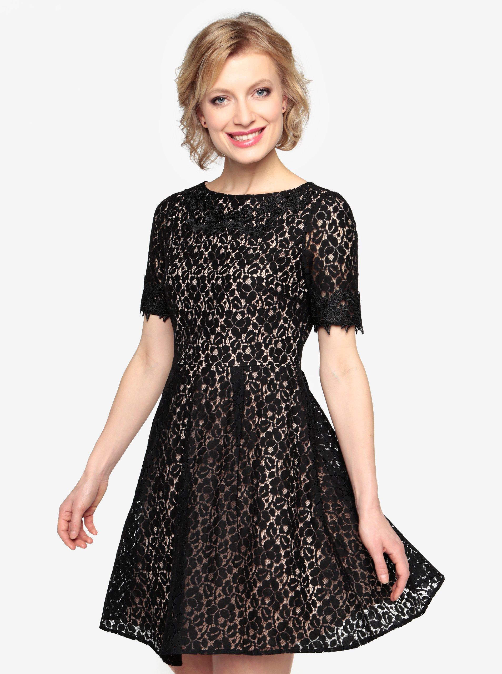 1774071cb700 Čierne čipkované šaty s krátkym rukávom Oasis Trim