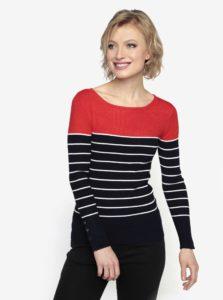 Červeno-modrý pruhovaný tenký sveter Oasis Split