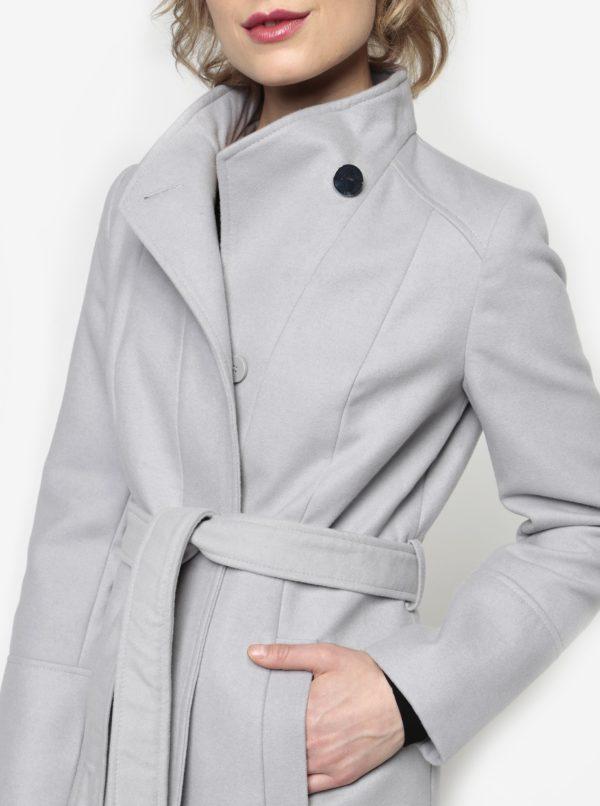 Sivý krátky kabát s opaskom Oasis Leah