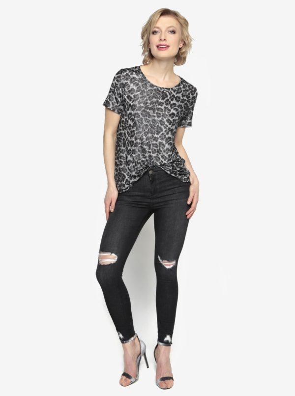 Vzorované tričko v čiernej a striebornej farbe Oasis Animal