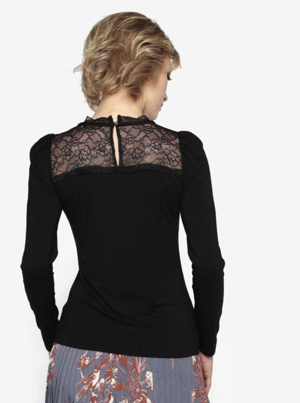 Čierny top s čipkovaným sedlom Oasis Lace