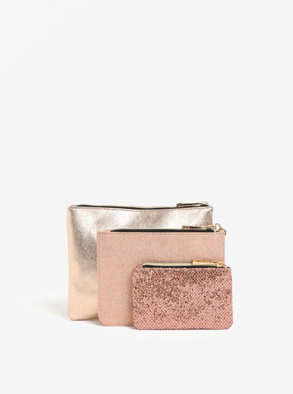 Trojdielna súprava listovky a puzdier v ružovej farbe Oasis PP