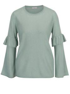 Mentolový sveter s volánmi na rukávoch Jacqueline de Yong Stardust bc73f571e53