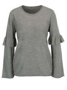 Sivý sveter s volánmi na rukávoch Jacqueline de Yong Stardust