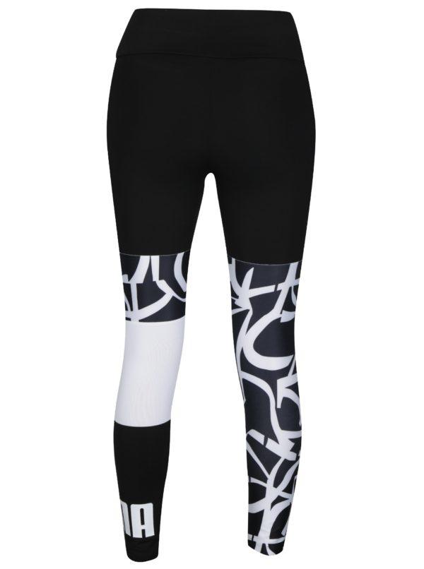 Čierno–biele dámske vzorované legíny Puma