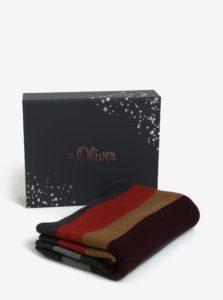 Vínovo-sivý pánsky pruhovaný šál so strapcami s.Oliver
