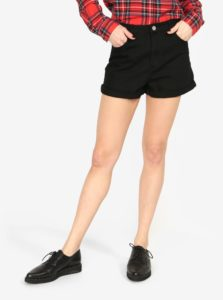Čierne rifľové kraťasy s vysokým pásom MISSGUIDED