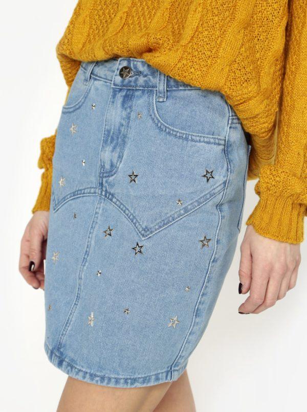 Modrá rifľová sukňa s aplikáciou v tvare hviezdy MISSGUIDED