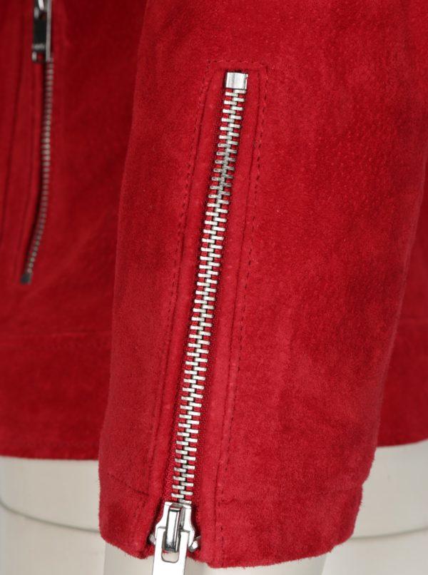 Červená semišová bunda ONLY Grace