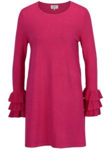 Ružové svetrové minišaty s volánmi ONLY Ginny