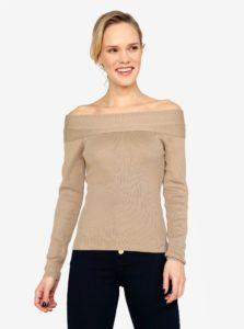 Béžový sveter s odhalenými ramenami MISSGUIDED