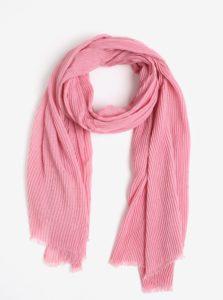 Ružová rebrovaná šatka Pieces Nabia