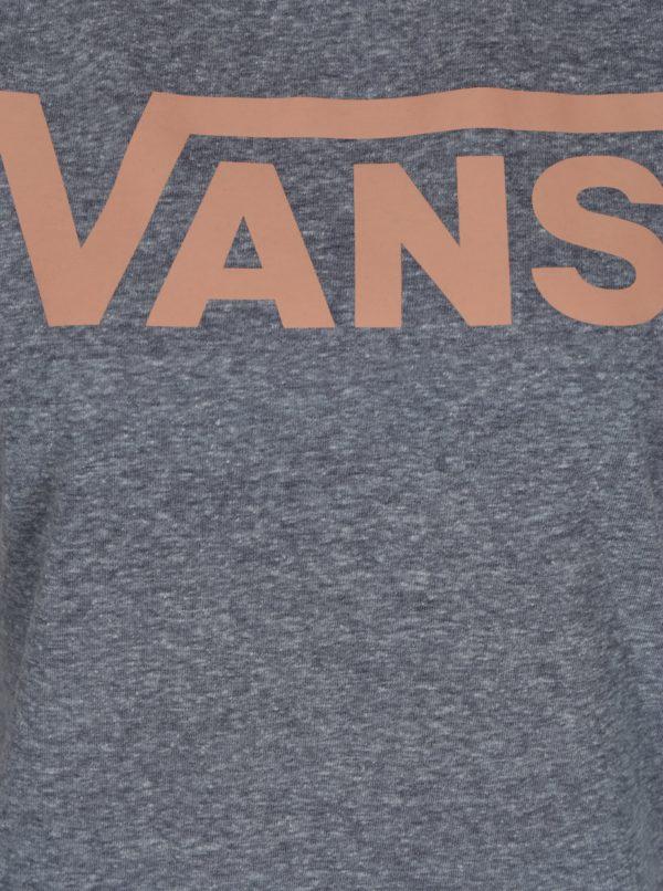 Sivé dámske melírované tričko s potlačou Vans Flying