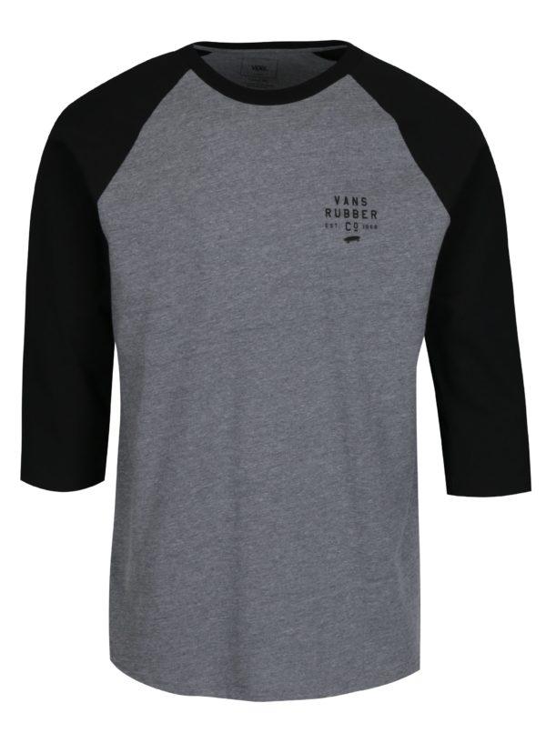 Čierno-sivé pánske melírované tričko s potlačou Vans Stacked Rubber