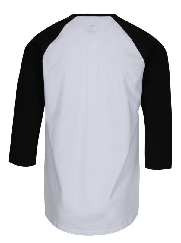 Čierno-biele pánske tričko s potlačou Vans New Raglan  0cc7ab44d6e