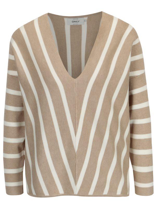 Béžový pruhovaný sveter s véčkovým výstrihom ONLY Aya