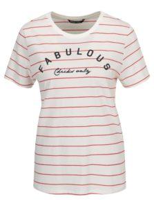 Krémové pruhované tričko s potlačou ONLY Kita
