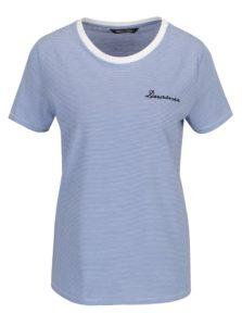 Bielo-modré pruhované tričko s výšivkou ONLY Kita