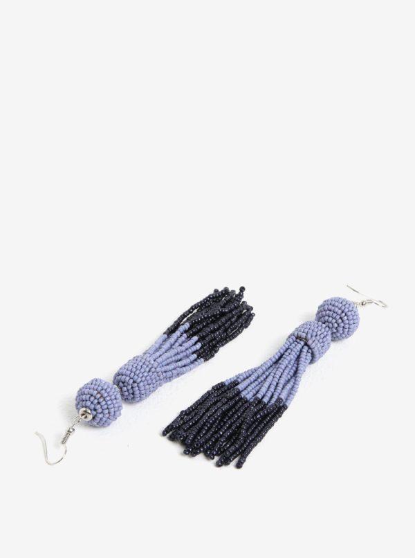 Fialové korálikové náušnice s detailmi v striebornej farbe Pieces Maise