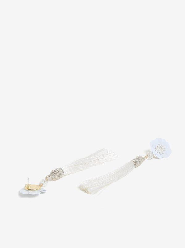 Biele náušnice s kvetovaným motívom a strapcami Pieces Joanna